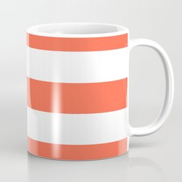 Tomato - solid color - white stripes pattern Coffee Mug