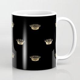 Black & Gold Crown Pattern Coffee Mug