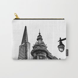 pyramid building and vintage style building at San Francisco, USA in black and white Carry-All Pouch