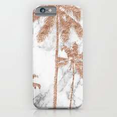 Rose gold palms on marble iPhone 6s Slim Case