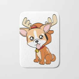 Chihuahua Christmas Dog T-shirt Design On Xmas Eve or Day Paw Paws Pet Breed Dogs Christmas Tree Bath Mat