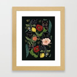 Botanical and Black Cats Framed Art Print
