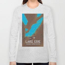 Lake Erie, USA lake Map Long Sleeve T-shirt