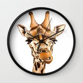 Giraffe painting. White Background Wall Clock
