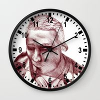 actor Wall Clocks featuring 1898 Stage actor by seb mcnulty