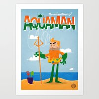 aquaman Art Prints featuring Aquaman by Diego Riselli