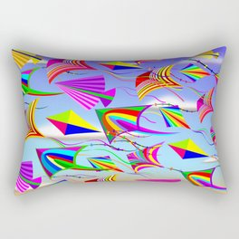 Kites Rainbow Colors in the Wind Rectangular Pillow