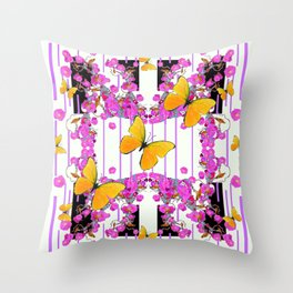 White Color Yellow Butterflies & Pink Flowers Black Throw Pillow