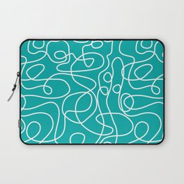 Doodle Line Art | White Lines on Teal Green Laptop Sleeve