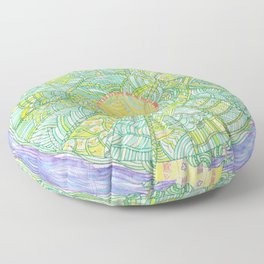 Drawing of Abstract round world with houses Floor Pillow
