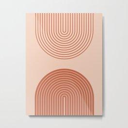 Terracotta Colours Nesting Rainbow Lines  Metal Print