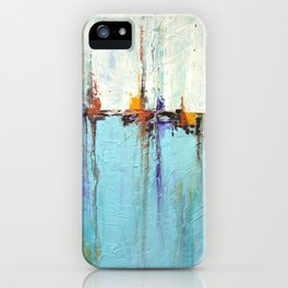"Abstract White and Blue Painting – Textured Art – ""Sailing""  iPhone Case"