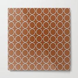 Brown Quatrefoil Pattern Metal Print