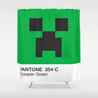 pantone Shower Curtains featuring Creeper Green Pantone  by Blu Cloud Industries