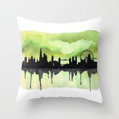 London Skyline 2 Lime Throw Pillow