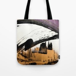 Axis [1]: a bold, minimal abstract in gold, purple, blue, black and white Tote Bag