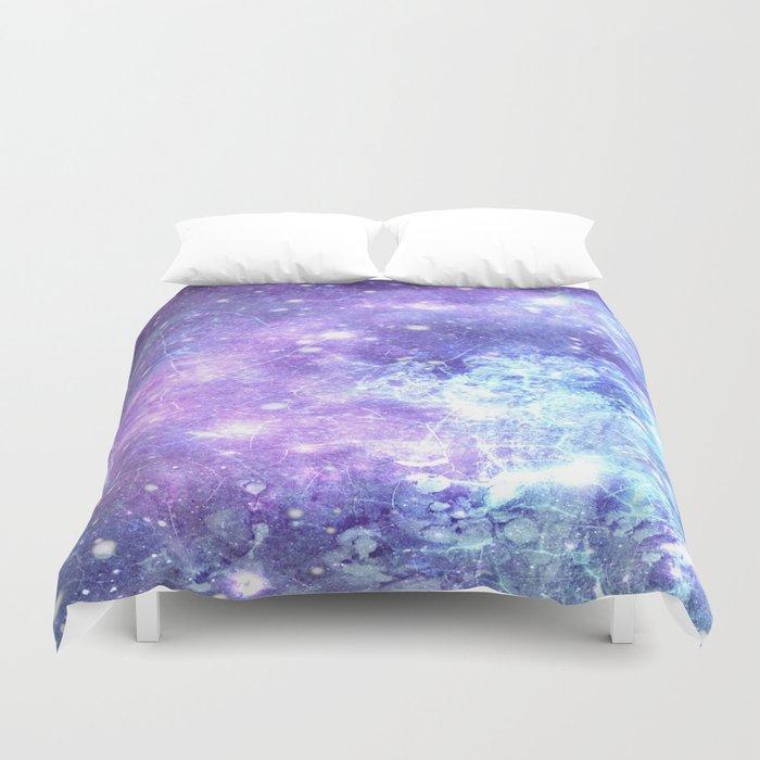 Grunge Galaxy Lavender Periwinkle Blue Duvet Cover
