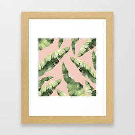 Banana Leaves 2 Green And Pink Framed Art Print