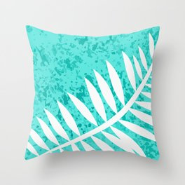 Turquoise Sponge Fern Throw Pillow