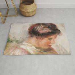 Head of Young Girl (Tte de jeune fille) (1905-1908) by Pierre-Auguste Renoir Rug