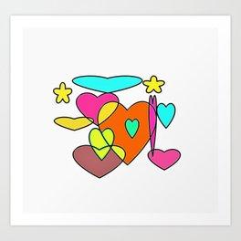 Colourful heart Art Print