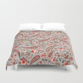 Gray Red Rose Floral Paisley Duvet Cover