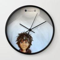 big hero 6 Wall Clocks featuring Big Hero 6 by MikakoskArts