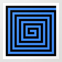 GRAPHIC GRID SWIRL ABSTRACT DESIGN (BLACK AND BLUE) SERIES 1 OF 6 Art Print