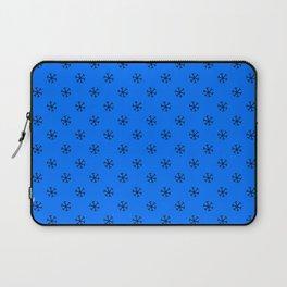 Black on Brandeis Blue Snowflakes Laptop Sleeve