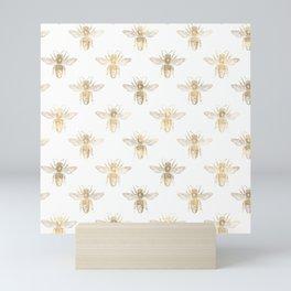 Chic Gold and White Bee Patten Mini Art Print