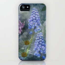 Painterly spring flowers on a grunge background iPhone Case