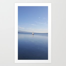 Sailboat on Beautiful Blue Waters of Lake Geneva Art Print