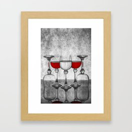 Still life with glass glasses with wine Framed Art Print
