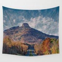 pilot Wall Tapestries featuring Pilot Mountain by Scott Hervieux