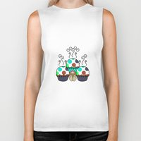 polkadot Biker Tanks featuring Cute Monster With Cyan And Blue Polkadot Cupcakes by Mydeas