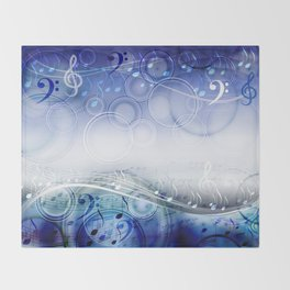 Abstract sheet music design background with musical notes Throw Blanket