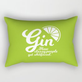 Gin. How Classy People Get Shitfaced - Lime Rectangular Pillow