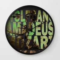 mozart Wall Clocks featuring Wolfgang Amadeus Mozart by Ganech joe