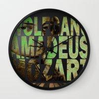 mozart Wall Clocks featuring Wolfgang Amadeus Mozart by Joe Ganech