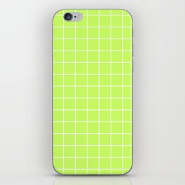 Lime Green with White Grid iPhone Skin