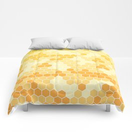 Honeycomb Yellow and Orange Geometric Pattern for Home Decor Comforters