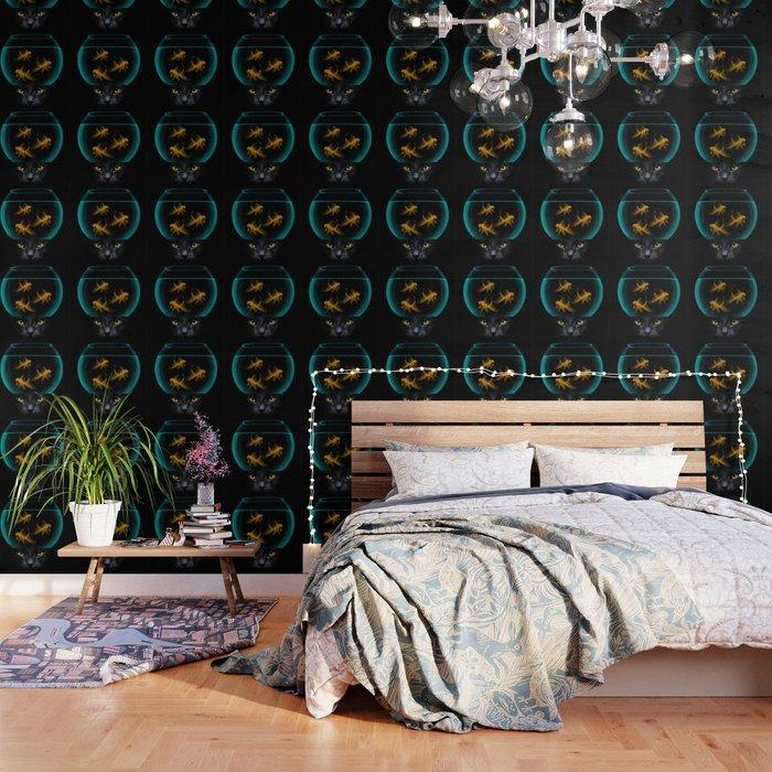 Black Cat Goldfish Wallpaper