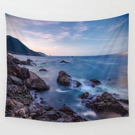 Rocky Shore - Waves Crash on Rocks Along Coast at Big Sur Wall Tapestry