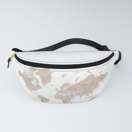 Brown watercolor world map with US state capitals Fanny Pack