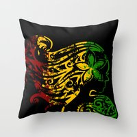 reggae Throw Pillows featuring Reggae Lady by Lonica Photography & Poly Designs