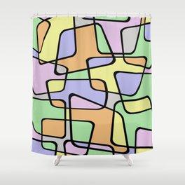 Mid Century Pastel Art Shower Curtain