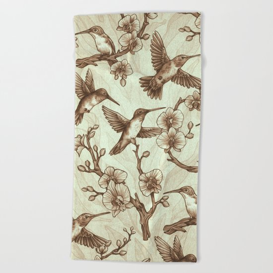 Sepia Hummingbird Pattern Beach Towel