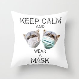 Keep Calm and Wear a Mask   Stay Safe   Masked Lions Throw Pillow
