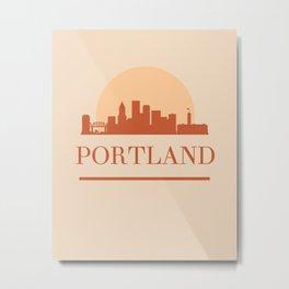 PORTLAND OREGON CITY SKYLINE EARTH TONES Metal Print