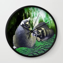 Lemurs on the Emerald Green Knolls Wall Clock